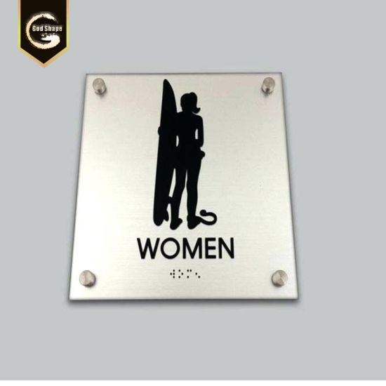 Stainless Steel Etched Restroom Ada Braille Sdoor Plate pictures & photos