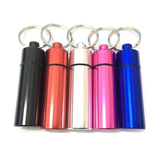 Pill Container Outdoor Medicine Bottle Keychain Waterproof Aluminum Metal Pill Box Case Holder