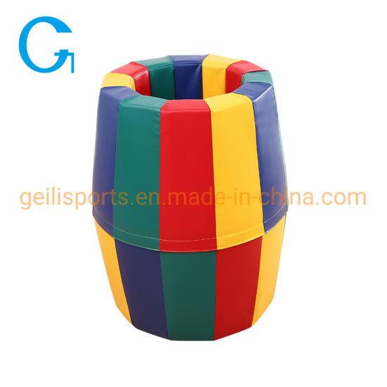 Cheap High Quality Soft Play Tumbling Shape Mat Rainbow Barrel