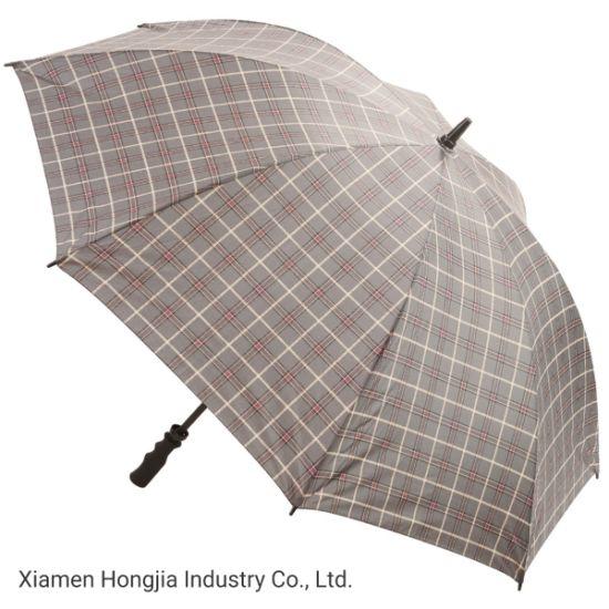 Wholesale Fibreglass Frame 27 Inch Manual Opening EVA Handle Plain Printing Fabric Rain Straight Umbrellas