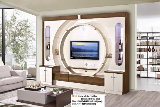 China New Modern Design Tv Cabinet Tv Wall Unit With Led Light China Tv Stand Living Room Furniture
