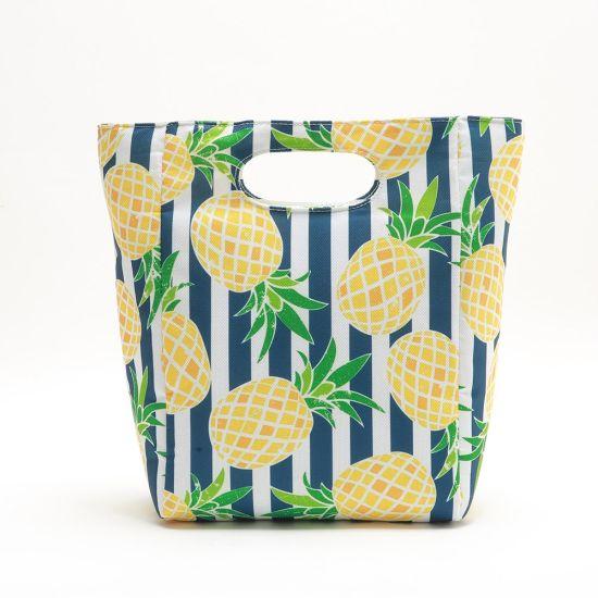 Custom Full Tropical Printing Food Lunch Bag Insulated Tote Cooler Bag