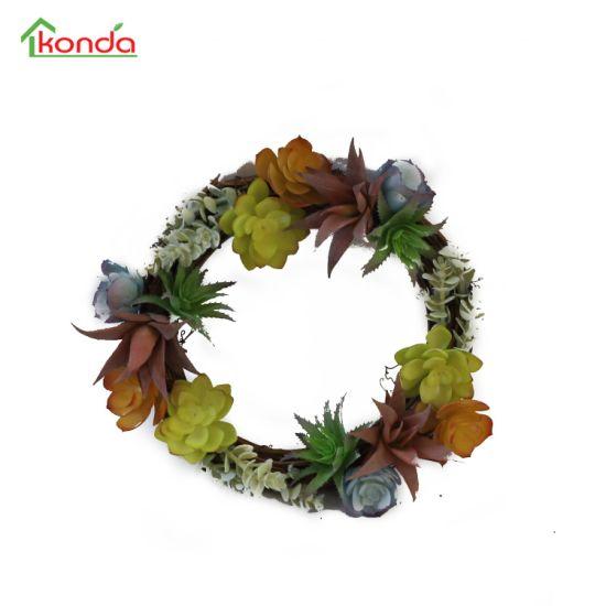 High Quality Indoor Decorative Artificial Succulent Plants Rattan Wall Hanging