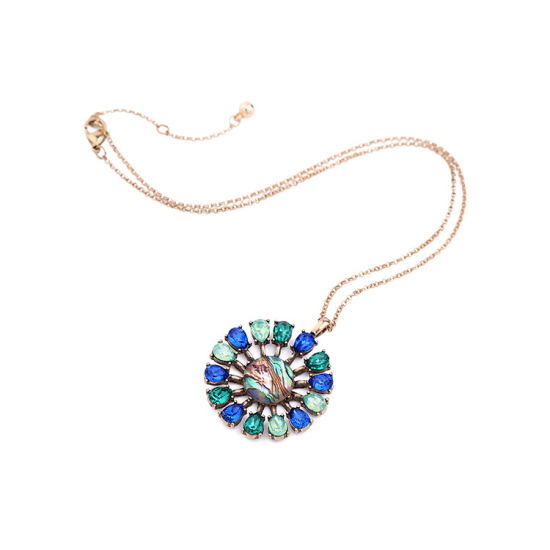 Retro Simple Round Flower Crystal Alloy Long Sweater Necklace Water-Drop Design Pendant Jewelry pictures & photos