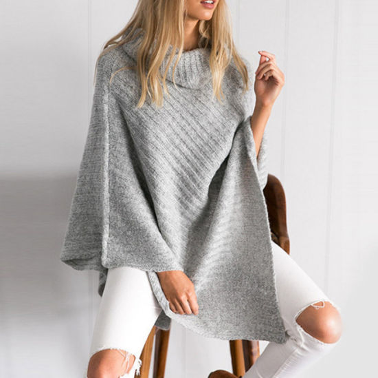 Wholesale Stand Collar Poncho Pullover Sweater for Women