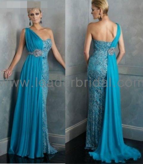 Lace Chiffon Evening Dresses One Shoulder Wedding Party Prom Dress E1366