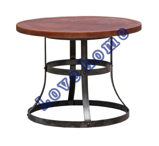 Modern Industrial Round Metal Dining Restaurant Wooden Table