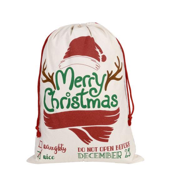 Noel Customized Silhouette Giant OEM Fabric Canvas Drawstring Santa Sack for Christmas Decor