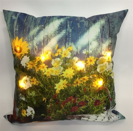 Battery Operated Customized Pattern Fabric Pillow Light up LED Cushion for Holiday Decor