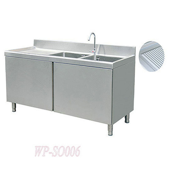 China Stainless Steel Double Sink Cabinets With Left Grooved Board China Kitchen Sink Double Sinks With Cabinet