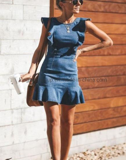 Summer New Design Fashion Ladies High Quality Bulk Cotton Denim Sexy Dress