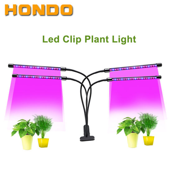 4 Heads 12W Clip on Desk Sunlike Gooseneck 10 Dimmable Levels 4/8/12h Timer Setting 3 Switch Modes Full Spectrum LED Plant Grow Lights for Indoor Plants