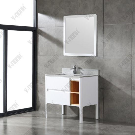 China Freestanding Bathroom Furniture Solid Oak Bathroom Vanity China Wooden Vanity Unit Grey Bathroom Vanity