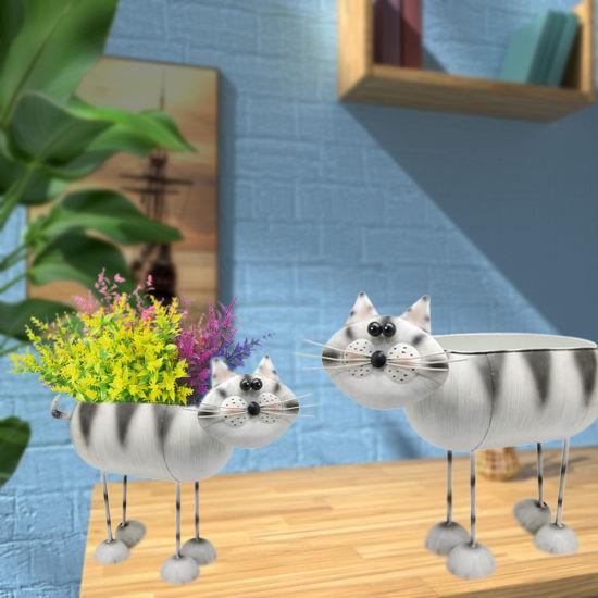 Desktop Metal Iron Modern Creative Cat Planter Vase Holder Stand for Home Garden Outdoor Wedding Decoration