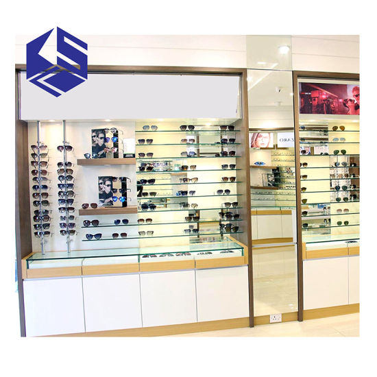 Optical Store Decoration Wooden Glasses Cabinet Furniture