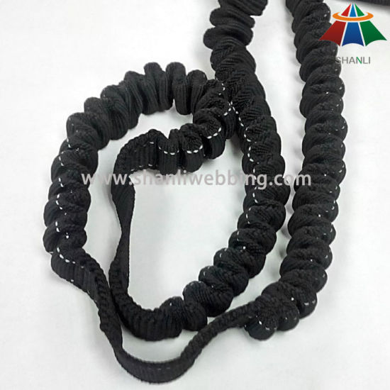 25mm Black Nylon Bungee Webbing for Retractable Pet Leashes