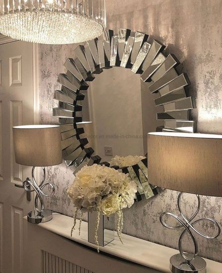 China Home Decor 3d Glass Bevel Wall, Carved Wood 35 Round Mirror