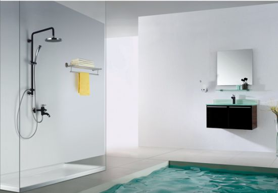 Stainless Steel Bathroom Rainfall Black Shower Set with Hand Bath pictures & photos
