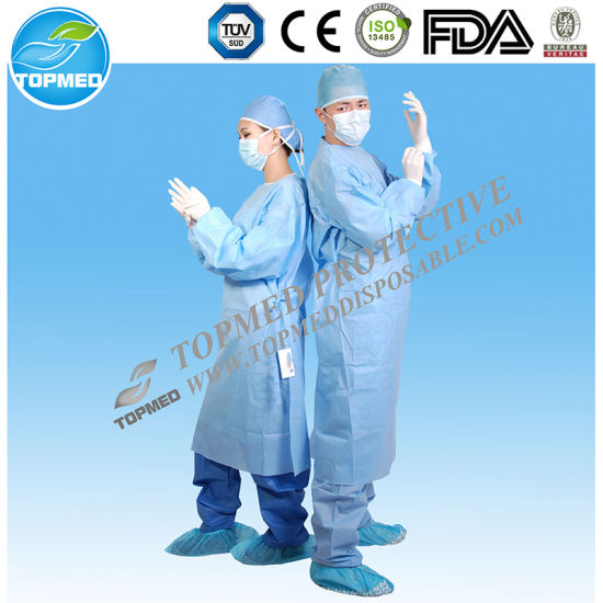 Topmed Medical Elastic Cuffs/ Knitted Cuff Eo-Sterilized Isolation Gown pictures & photos