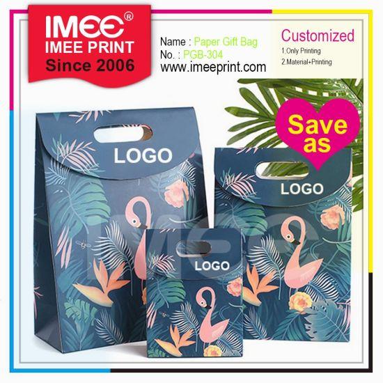 Imee Print Cutstom Wholesale Hook & Loop Flamingo Candy Cake Wine Carrier Gift Shopping Paper Handle Bag