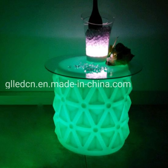 Waterproof Modern LED Plastic Bar Stool Chair Seat Lighting up Lounge Chair Furniture