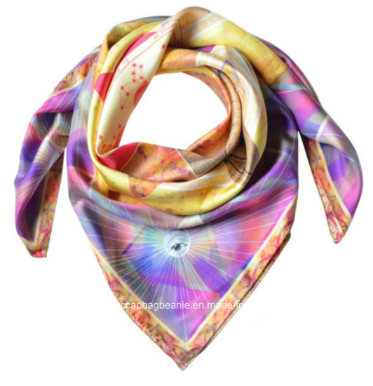 Lady Various Color Digital Print 100% Silk Scarf pictures & photos