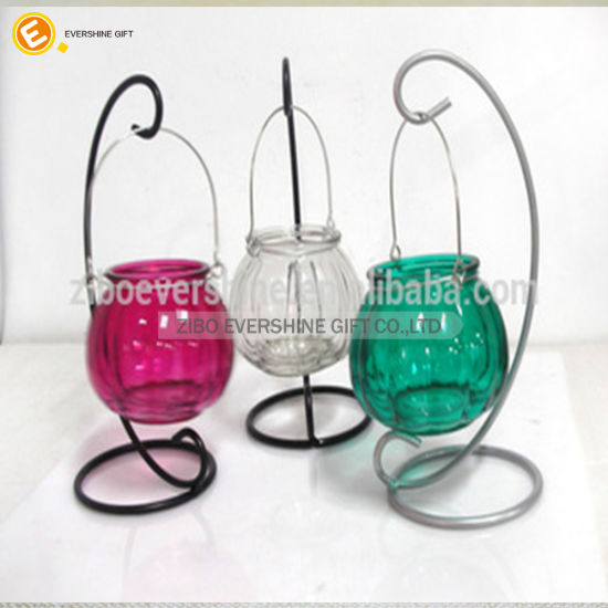 Home Decoration Candlestic Hung Lantern Glass Candle Holders pictures & photos