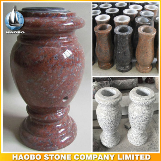 Granite South African Red Vase Wholesale China Light Gray Cemetery Use
