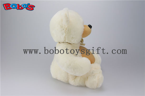 Beige Big Tummy Plush Teddy Bear with Ribbon pictures & photos