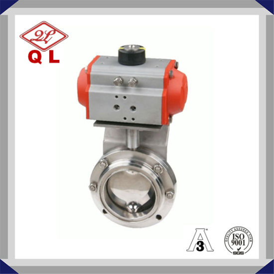 Sanitary Stainless Steel Pneumatic Actuated Butterfly Valve pictures & photos