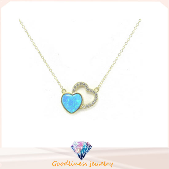 Fashion Love Heart 925 Sterling Silver Blue Opal White /Rose Gold Plating Pendant Chain Jewelry (N6590)