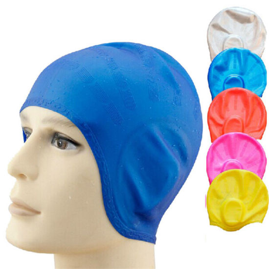 Waterproof Customized Logo Print Soft Adult Silicone Swimming Cap pictures & photos