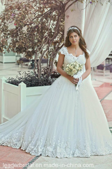 Arabic Dubai Bridal Gowns Dots Tulle Ball Gown Lace Wedding Dress B2058 pictures & photos