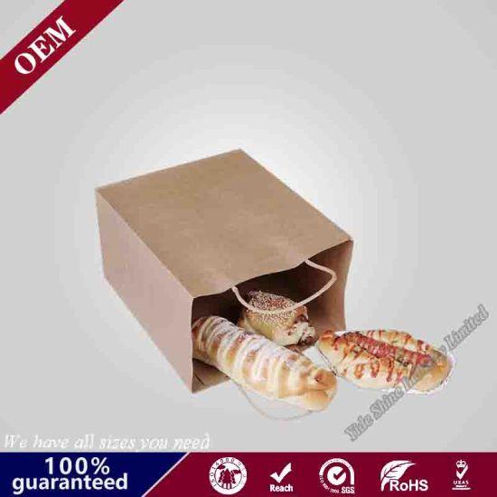 Bread Take Away Handle Craft Paper Bags