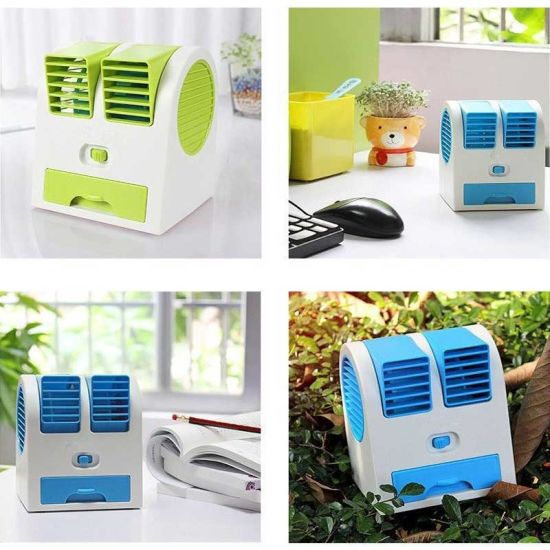 Desktop Dual Bladeless USB Cooling Air Conditioner Mini Small Fan pictures & photos