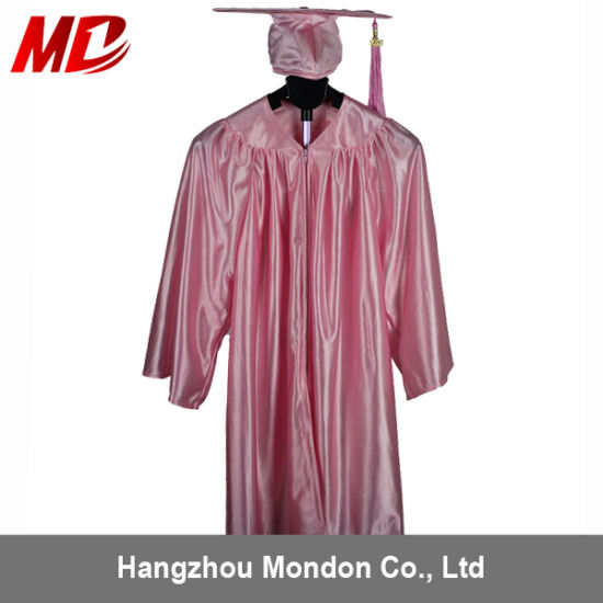 China Shiny Children Graduation Cap And Gown For Kindergarden Pink