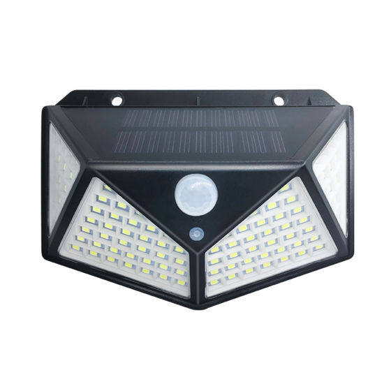 100 LED Solar Wall Light PIR Motion Sensor Outdoor Garden Street Lamp Waterproof