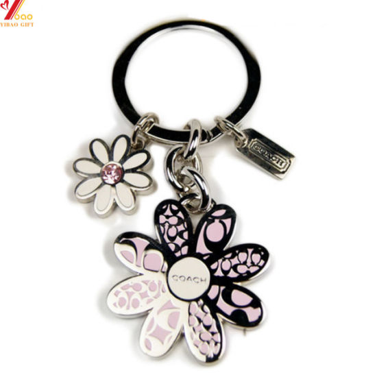 High Quality Custom Logo Flower Design Metal Keychain for Promotional Gift (YB-LY-K-25)