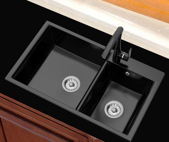 Composite Granite Stone Kitchen Sink Above Counter Double Bowl