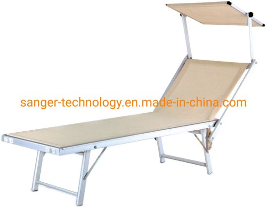 Lounge Folding Cot Camping Adjustable Recliner Sunbathing Beach Pool Bed Cot with Shadow Cover