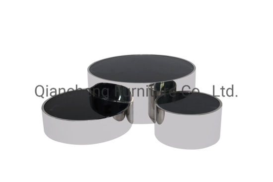 Metal Coffee Table Black Glass Top Dining Room Furniture Wholesale Furniture