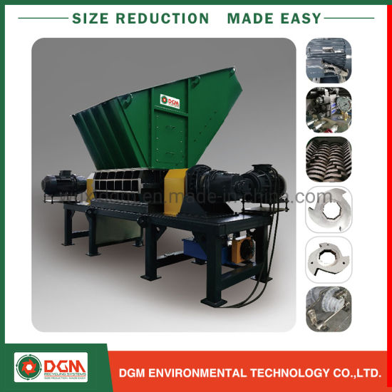 Dgd Double Twin Shaft Tires Metal Barrels Plastic Recycling Shredder