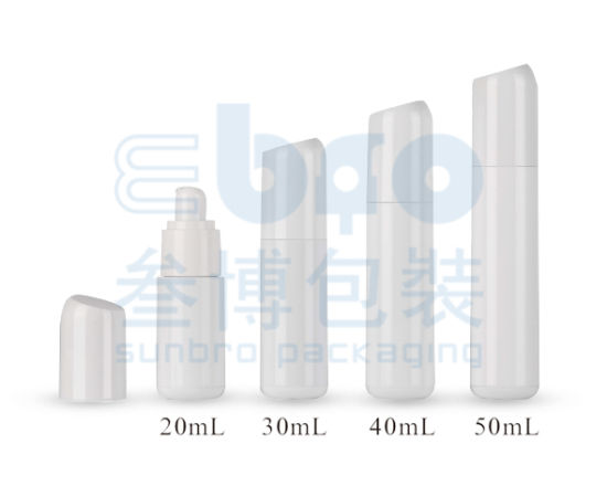 Glossy White Printing Logo 40/50ml Plastic Cosmetic Airless Bottle.