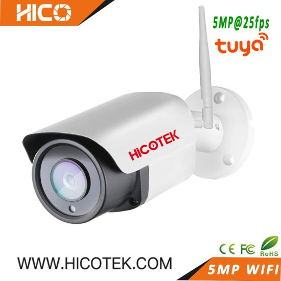 5MP Tuya Smart Outdoor WiFi Bullet Wireless IP Video Surveillance Security CCTV Audio Camera Support Humanoid Motion Detection Ie NVR Cms Onvif