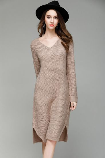 Solid Color Clothing Loose Knitwear Casual Dress V-Neck Fashion Sweater