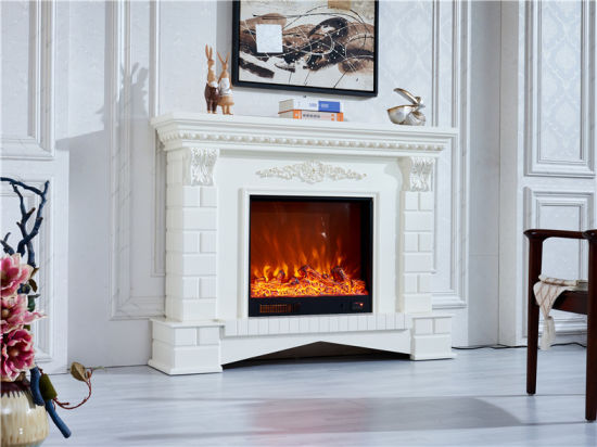 China Modern Furniture White Wood Pellet Stove Electric Fireplace