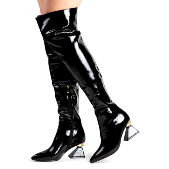 Fashion Women Shoes Ladies High Heels Knee Boots Sexy Ladies Shoes Lady Leather Boots