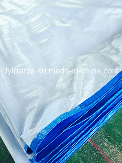 China PE Tarpaulin Supplier, Blue/White 4m by 5m, 125-145GSM PE Tarp Cover pictures & photos