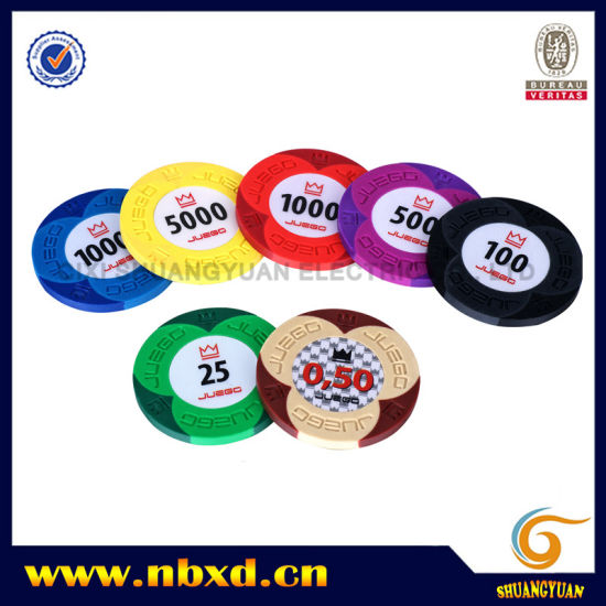 9.5g 2color Pure Clay Juego Engraved Sticker Chip (SY-C15-1) pictures & photos