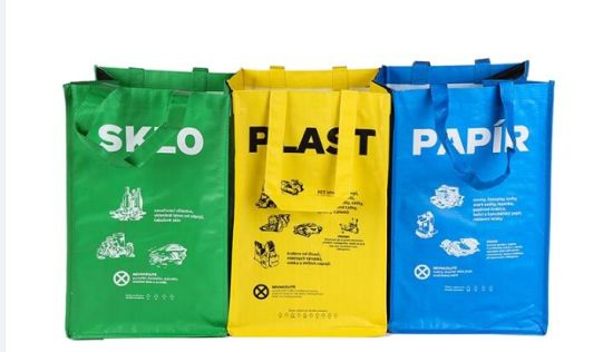 3PCS Per Sets Colorful Blue Yellow Green Korea Custom Waste Container Recycled PP Woven Trash Bag